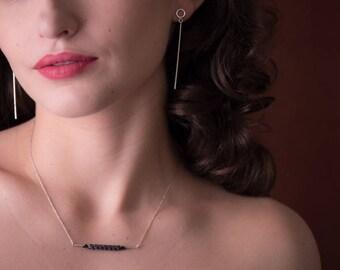Bridge Necklace - sterling silver leather pendant