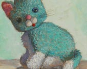 Reserved for Heather -- Aqua kitty Archival print of original Painting by Lora Shelley