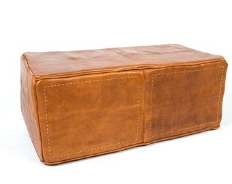Heavy Leather handmade ottoman (rectangular)