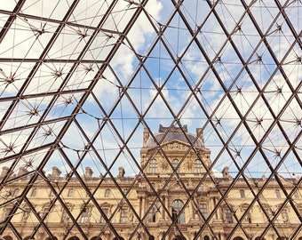 Paris Photography, Louvre Pyramid Architecture Travel Photography, Minimalist design print, Paris Art Print, Paris Wall Art