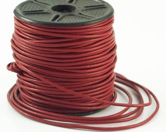 1.5mm Garnet Indian Leather Cord - By The Yard
