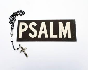 Vintage Church Sign, Psalm Sign, Church Register Board Sign, Religious Ephemera, Church Ephemera, Religious Mixed Media Supply
