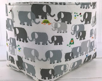 Basket,Bin,Nursery Decor,Diaper Storage,Fabric Bin,Fabric Basket,Home Decor,Organizer Storage Bin,Elephants,Gray,Grey,Boy Nursery,Elephant