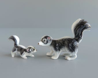 Vintage Miniature Mother and Baby Striped Skunk Figurine Set, Black and White Bone China Animals, Tiny Figural Statuettes
