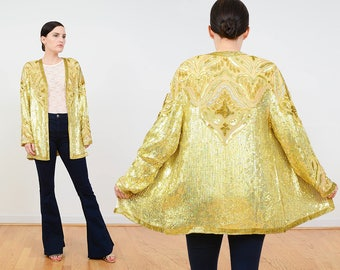 80s Gold Beaded Jacket | Silk Sequin Jacket | Metallic Floral Art Deco Trophy Beaded Kimono Jacket | Cocktail Party Sequined Jacket | size M
