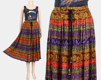 90s Gauze Skirt | Bohemian Skirt | Tribal Striped Skirt | Indian Ethnic Print Drawstring Waist 1990s Boho Gypsy Midi Skirt | Large L
