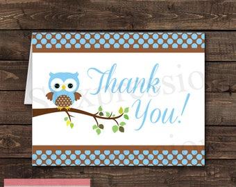 Blue Polka Dot Boy Owl Baby Shower Blank Folded Thank You Card