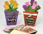 Flower Pot - Pop Up Box Card with Gift Card - SVG Files for Cricut Explore or Silhouette compatible models