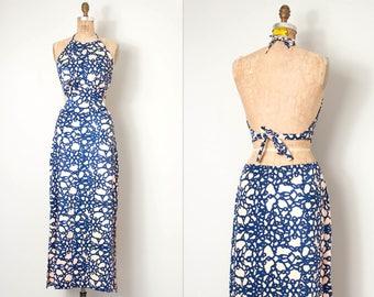 vintage 1970s maxi dress | cut-out backless 70s halter dress | (large l)
