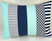 Home Decor, Pillow Cover, Cushion Cover, Decorative Pillows, Throw Pillows, Nursery, 12 x 16, Mint, Gray, Grey, Navy, Navy Blue, Stripe