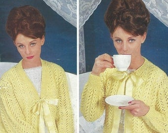 Ladies Bed Jacket ,Vintage Knitting Pattern Ladies Bed Jackets , Bed Coats with two necklines , Instant Download Pdf Pattern