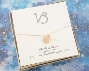 rose gold zodiac CAPRICORN necklace, birthday gift, custom personalized, gift for women girl, minimalist, simple necklace, layered