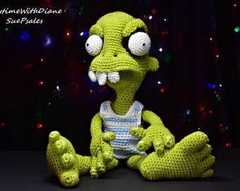 Zack the Zombie, Hand crocheted stuffed toy, 20 inches tall, removable tank top, Crocheted plushies, Zombie, Stuffed animal, stuffed toy