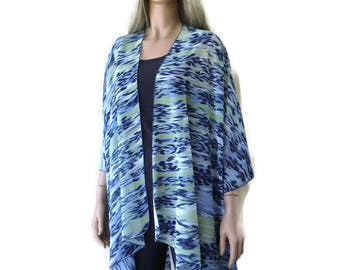 Kimono/ Kimono cardigan-Water effects-Lake Blue and yellow-chiffon Ruana