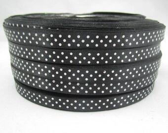 5 m ruban satin noir à pois blanc largeur 9 / 10 mm