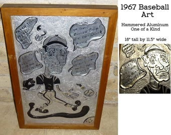 "Hammered Aluminum Comic Art. 1967 One of a Kind. Humorous Caricature of Baseball Player ""Don"". 18"" by 12"". Heavy Piece."
