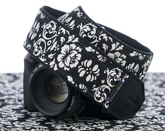 dSLR Camera Strap, SLR, Mirrorless, Black & White Floral Damask, Camera Neck Strap, Pocket, Canon or Nikon Strap, Photography, 021