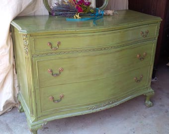 DRESSER Vintage Cottage Low Boy Bow Front Chest of Drawers and Mirror in Chartreuse Finish Poppy Cottage Painted Furniture