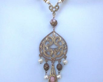 Baroque Style Assemblage Pearl Necklace Antique Rosary Beads Fresh Water Pearls Vintage Pendant One of a Kind Handmade Jewelry