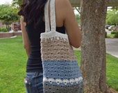Crochet tote cotton gray biege off white blue reusable tote avoska natural beach farmers market boho bohemian gift for friend gift under 30