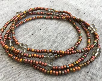 Long Beaded Necklace, Czech Glass Necklace, Earthy Jewelry, Boho Necklace, Bohemian Necklace, Womens Jewelry, Gifts for Her