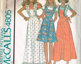 70s Pinafore Pattern McCalls 4605 Size Small Bust 32 to 34 Tie Back Pinafore Little House on the Prairie Style Vintage 1975 Sewing Pattern