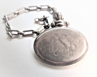Antique Sterling Watch Fob,  Antique Sterling Watch Chain