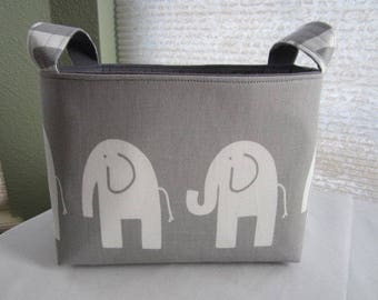 Fabric Organizer Basket Storage Bin Container - Gray and White Elephant - Choose your Lining Color