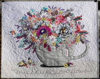 MarveLes WALL QUILT My Cup Overflows in GRAY Teacup Text Words Purple Pink Turquoise Blue Chickadees