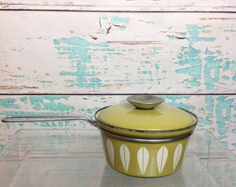 Vintage Cathrineholm Lotus Avocado Green Small Saucepan Cooking Pot With Lid Mid Century Modern Chef Kitchen Vtg