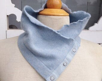SALE Handmade pale baby blue soft cashmere scarflette neck warmer with button details. Upcycled. Felted cashmere. Winter wear.