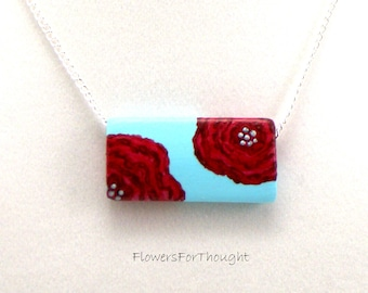 California Poppy Hand Painted Pendant, Red Flower Necklace