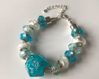 D20 dice bracelet dungeons and dragons dice blue white dice D20 pathfinder dice bracelet