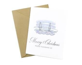 Mount Pleasant Christmas Card, Ravenel Bridge, Charleston Holiday Card, Charleston SC, Scenery, Mt Pleasant, Holiday Boats, Ravanel Bridge