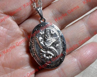 Phoenix Vintage Style Oval Lockets Pendant Necklace