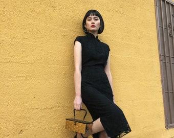1940s Black Lace Cheongsam