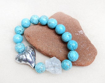 Turquoise Howlite, Mala Style Bracelet, Silver Heart, Icy Blue Nugget, Zen Yoga, Southwest, Handmade, Stretch, Gift for Her, Gift for Woman