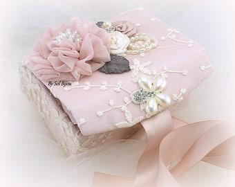 Ring Bearer Box, Ring Box, Ivory, Rose, Gray, Dark Gray, Jewelry Box, Alternative Pillow,Elegant Wedding,Vintage Style,Lace Box,Pearls