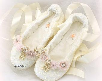 Wedding Ballet FlatsBlush FlatsIvoryLace FlatsBallet Slippers