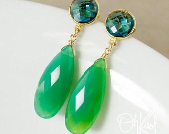 London Blue Quartz & Green Chrysoprase Teardrop Earrings - Vibrant Earrings