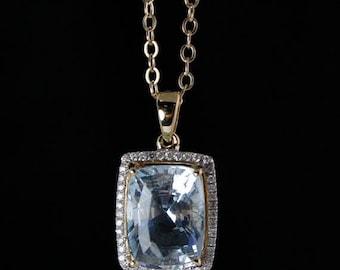 ON SALE Blue Aquamarine Pendant Necklace - Pave Diamonds - 14K Yellow Gold