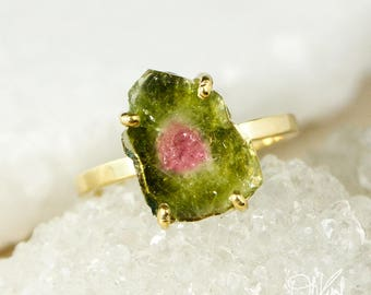 Rose Gold Watermelon Tourmaline Slice Ring - Free Form Tourmaline - Choose Your Tourmaline