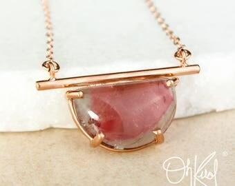 Watermelon Tourmaline Half Moon Necklace - Horizontal Necklace - Tourmaline Jewelry