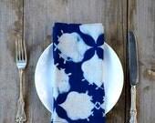 napkins blue navy indigo moroccan bohemian organic cotton linens block print cloth napkins SAMPLE SALE dining table napkin Set of 4 Filament