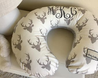 Ivory and Grey Deer Nursing Pillow Cover, Grey Boppy Cover, Deer Boppy Cover, Baby Boy Nursing Pillow Cover, Ivory Personalized Baby Gift