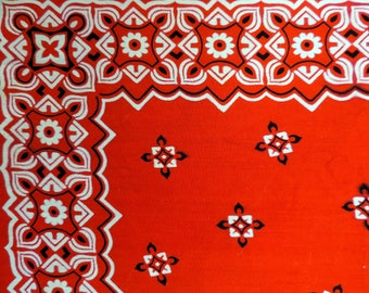 vintage red bandana floral color fast cotton square head dog scarf cowboy made in usa