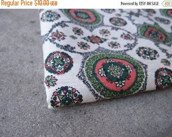 SALE SALE SALE Vintage Fabric Decorator Linen Cream Gray Green Coral Home Decor Yardage Sewing Supplies