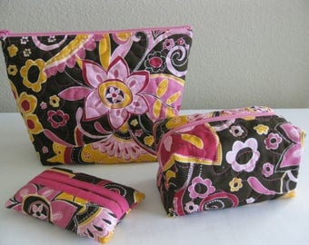 SALE Pink and Brown Quilted Pouch Set