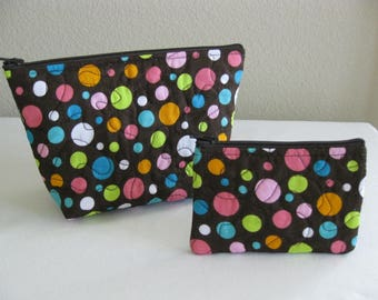 Colorful Dots Quilted Pouch Set