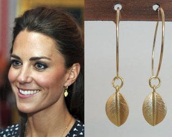 Kate Middleton Inspired Large Hoop Leaf Earrings Gold